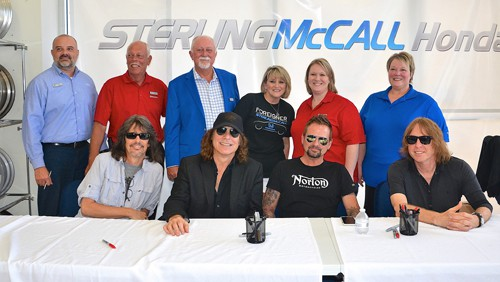Sterling McCall Honda Staff, Including General Manager Mike Collins (in  Blue Jacket), Pose With Members Of Foreigner, From Left: Kelly Hansen, Thom  Gimbel, ...